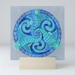 Seahorse Triskele Celtic Blue Spirals Mandala Mini Art Print