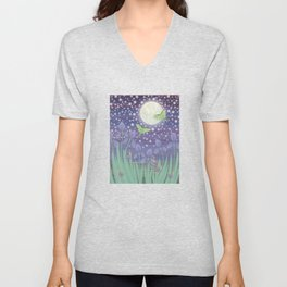 Moonlit stars, luna moths, snails, & irises Unisex V-Neck