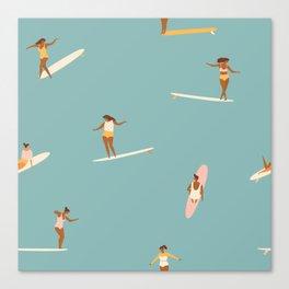 Surf girls Canvas Print