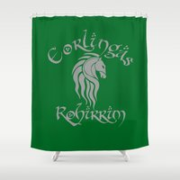 gondor Shower Curtains featuring Eorlingas Rohirrim by CarloJ1956