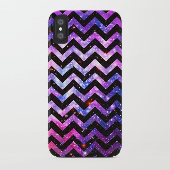 Girly Chevron Pattern Cute Pink Teal Nebula Galaxy iPhone Case
