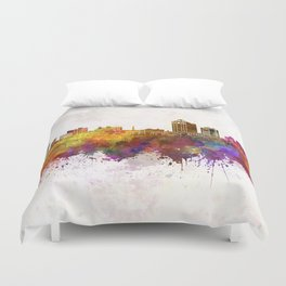 New Haven skyline in watercolor background Duvet Cover