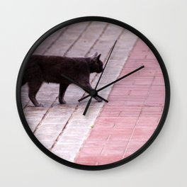 Cat Walking  6589 Wall Clock