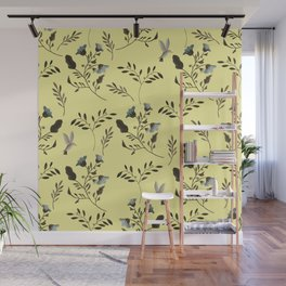 Butter Yellow and Bluebells and Bluebirds Floral Pattern Flowers in Blue and Bark Brown Wall Mural
