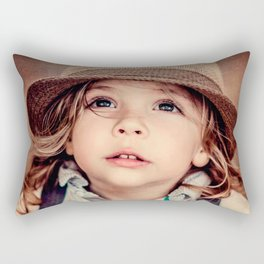 Child Looking up Girl Hat Vintage Portrait Rectangular Pillow