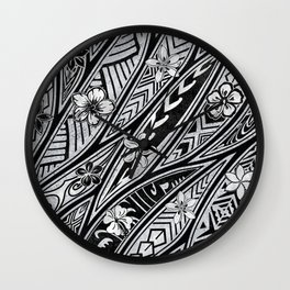 Vintage Hawaiian Tribal Floral Tattoo Tapa Print Wall Clock