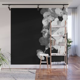White Orchids Black Background Wall Mural
