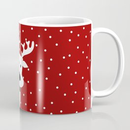 Reindeer in a snowy day (red) Coffee Mug