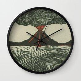 Volcano Woodcut Wall Clock