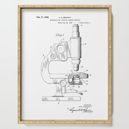 Microscope Vintage Patent Hand Drawing Serving Tray
