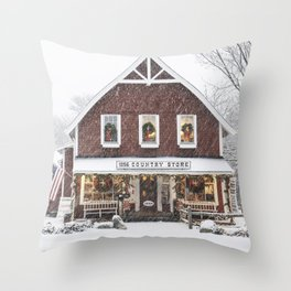 Classic Country Store Christmas Scene Throw Pillow
