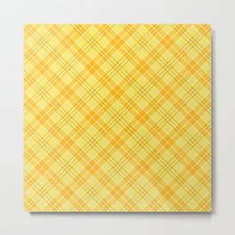 Yellow Diagonal Plaid Pattern Metal Print