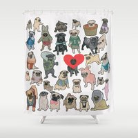 pugs Shower Curtains featuring Pugs by Yuliya