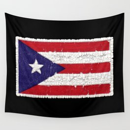 Puerto Rican flag with distressed textures Wall Tapestry