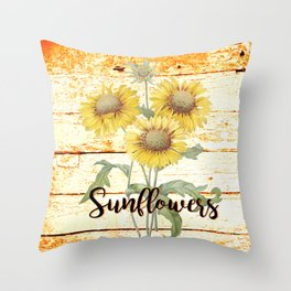 Country Sunflowers on wood Throw Pillow
