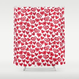 MESSY HEARTS: RED Shower Curtain
