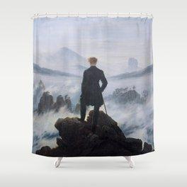 Caspar David Friedrich - Wanderer above the Sea of Fog - 1817 Shower Curtain