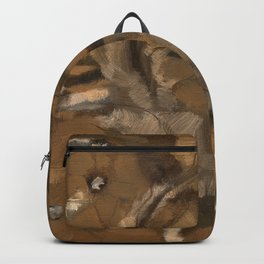 Feather Impressionistic Tan Brown Painting Abstract Realism of Native American Dreamcatcher Backpack
