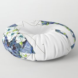 Nude with blue flowers Floor Pillow