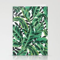 banana leaf Stationery Cards featuring Tropical Glam Banana Leaf Print by Nikki