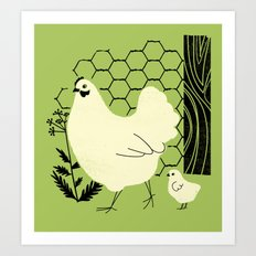 Hen and chick Art Print