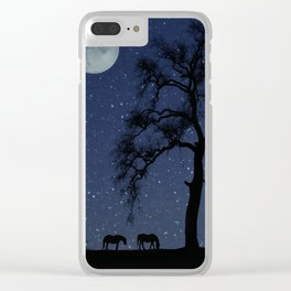 Starry Night, Horse and Moon Clear iPhone Case