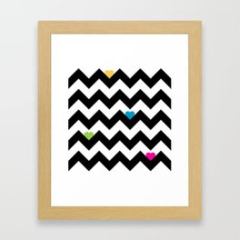 Heart & Chevron - Black/Multi Framed Art Print