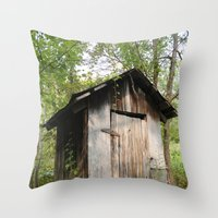 toilet Throw Pillows featuring Outdoor toilet by jim snyders photography