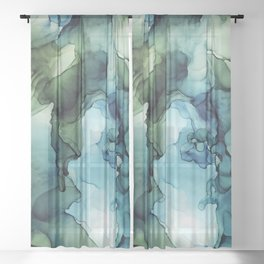 Land and Water Abstract Ink Painting Blues and Greens Sheer Curtain