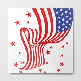 AMERICAN FLAG  & RED STARS JULY 4TH ART Metal Print
