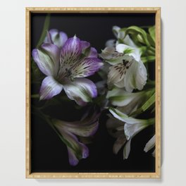 Floral bouquet. Purple and white flowers. Serving Tray