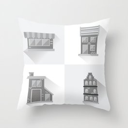 Modern Cottages Facades Collection, Residential House Buildings, Country Real Estate Flat Throw Pillow