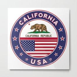 California, California t-shirt, California sticker, circle, California flag, white bg Metal Print