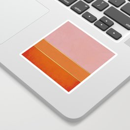 Orange, Pink And Gold Abstract Painting Sticker