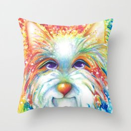 West Highland White Terrier Westie Dog Winston abstract dog art Throw Pillow