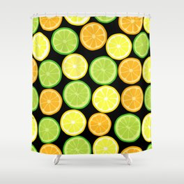 Citrus Slices on Black Shower Curtain