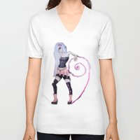 girly V-neck T-shirts featuring So girly by CokecinL