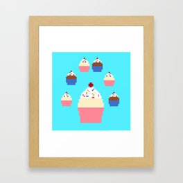 Pixel Cupcakes (Blue) Framed Art Print