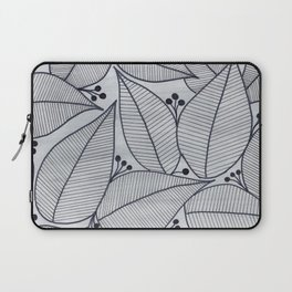 Black Leaves on Silvery Grey - II Laptop Sleeve