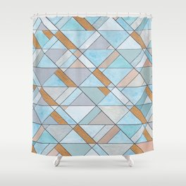 Shifting Pattern Turquoise and Gold Shower Curtain