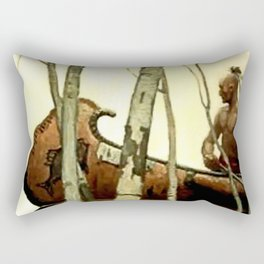 "N C Wyeth Vintage Western Painting ""Birchbark Canoe"" Rectangular Pillow"