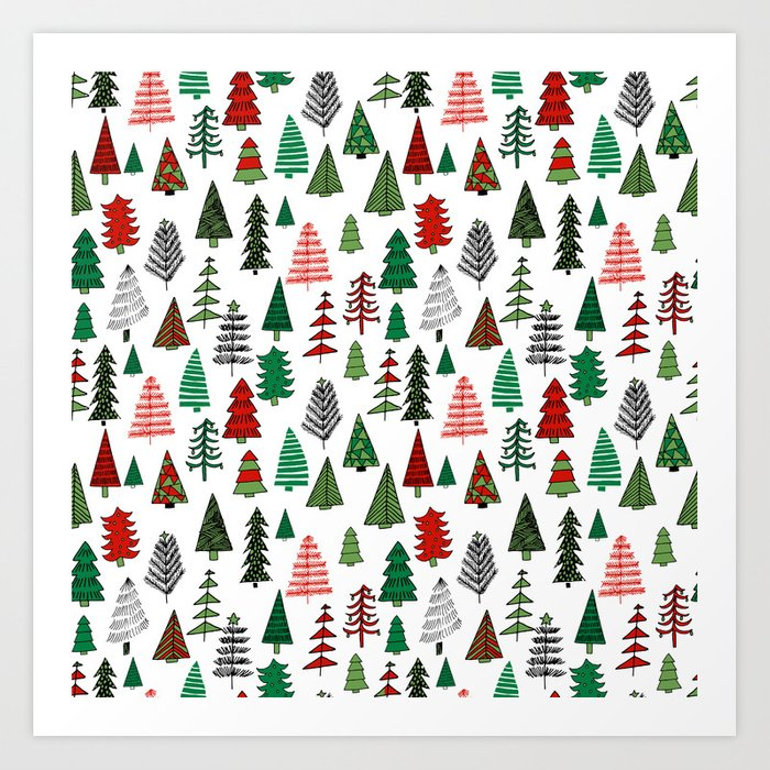Christmas Tree Forest Minimal Scandi Patterned Holiday Forest Winter Art  Print By Andrealaurendesign Society6