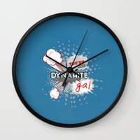 wreck it ralph Wall Clocks featuring You're one dynamite Gal.. funny disney pixar.. wreck it ralph quote by studiomarshallarts