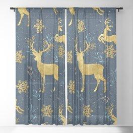 Golden Reindeer Sheer Curtain