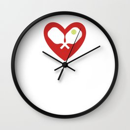 Pickleball Heart Wall Clock