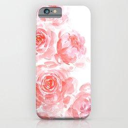 Dreamy pink watercolor peonies iPhone Case