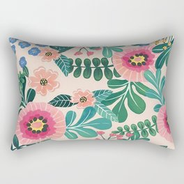 Colorful Tropical Vintage Flowers Abstract Rectangular Pillow