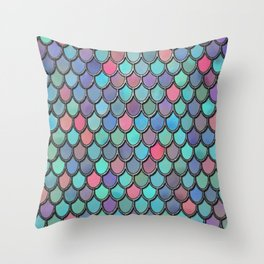Colorful Watercolor Mermaid Scales Throw Pillow