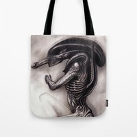 xenomorph Tote Bags featuring ALIEN - Xenomorph by Denda Reloaded