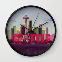 seattle Wall Clocks featuring Seattle by WyattDesign